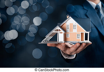 Real estate agent offer house represented by model....