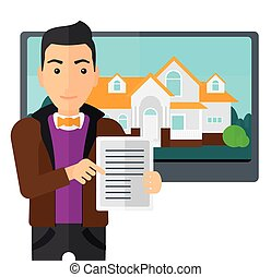 Real estate agent offering house. - A man standing in front...