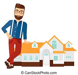 A real estate agent standing near the house vector flat design illustration isolated on white background.