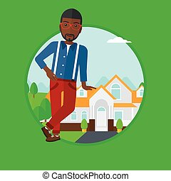 Real estate agent offering house. - An african-american male...