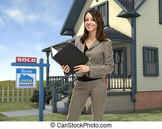 Real Estate Agent - Professional female real estate agent...