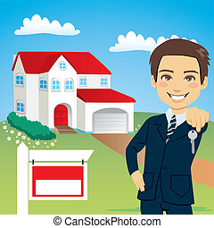 Real Estate Agent - Real estate agent holding the key of a...