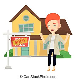 Real estate agent signing contract. - Excited real estate...