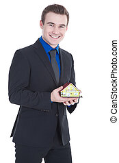 Real estate agent smiled