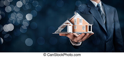 Real estate agent offer house represented by model. Wide...