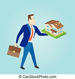 Real estate agent with a house model for sale. Vector illustration.