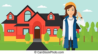 Real estate agent with key.