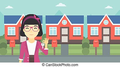 Real estate agent with key vector illustration.