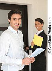 real-estate, agentes, visitando, casa