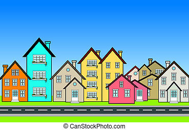 An illustration of many colorful houses in a neighbourhood