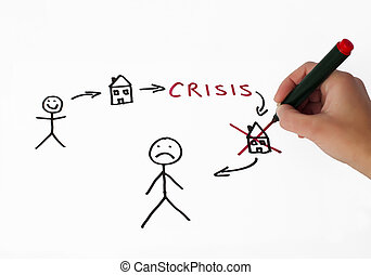 Real estate and crisis conception illustration over white