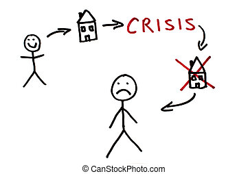 Real estate and crisis conception illustration