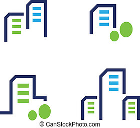 Residential houses icons. Vector Illustration