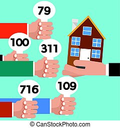 Real Estate Auction Conceptual Vector Illustration