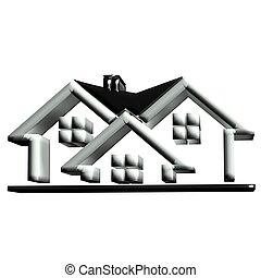 Real estate black houses 3D logo