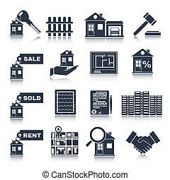 Real Estate Black Icons - Real estate black icons set of...