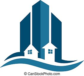 Real estate blue card modern buildings icon vector creative design colorful
