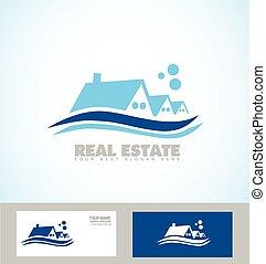 Real estate blue house icon logo