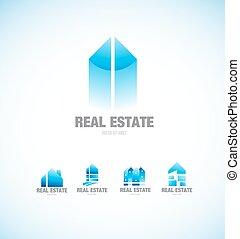 Real estate building blue logo