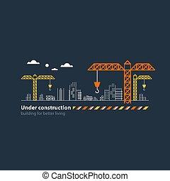 Real estate building company, under construction site banner, cranes