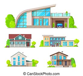 Real estate building, cottage house, villa icons