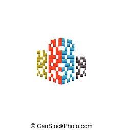 Real estate building logo design concept vector