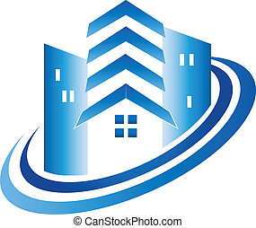 Real estate buildings house logo - Real estate blue...
