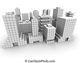Real estate business commercial building form by cube 3d...