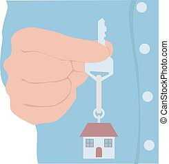 Real estate business graphic design, vector illustration.Key in hand