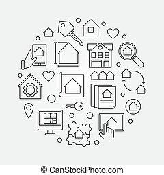 Real Estate business round vector outline illustration
