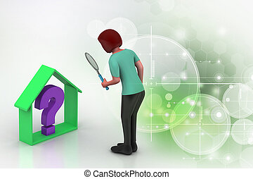 real estate business with question mark