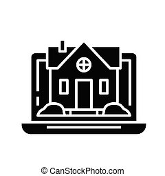 Real estate choice online black icon, concept illustration, vector flat symbol, glyph sign.