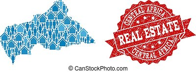 Real Estate Collage of Mosaic Map of Central African Republic and Distress Seal