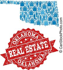 Real Estate Collage of Mosaic Map of Oklahoma State and Grunge Seal