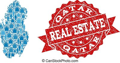 Real Estate Collage of Mosaic Map of Qatar and Scratched Stamp
