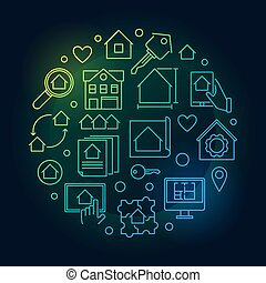 Real Estate colored round vector linear illustration