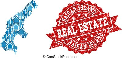Real Estate Composition of Mosaic Map of Saipan Island and Distress Seal Stamp
