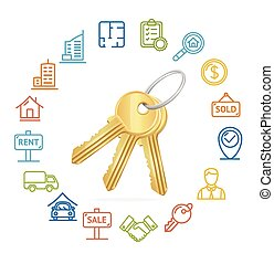 Real Estate Concept and Outline Icon Set. Vector ...