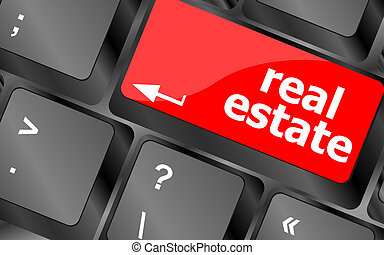 Real Estate concept. hot key on computer keyboard with Real ...