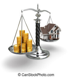 Real estate concept. House and money on scale.