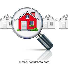 illustration of real-estate concept with magnifying glass and your dream house