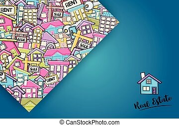 Real estate concept in 3d cartoon doodle background design.