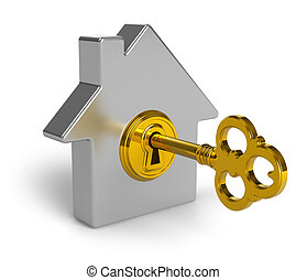 Real estate concept: metal house shape symbol with golden key in keyhole isolated on white background