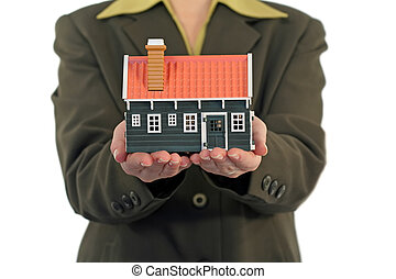 Real estate concept - Real estate business woman offering a...