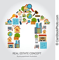Real Estate Concept - Real estate concept with house and...