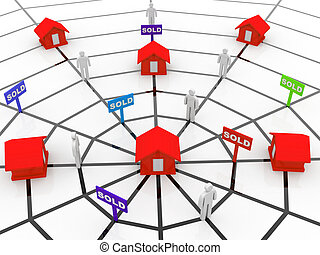 Real-estate concept. sold sign, people and home