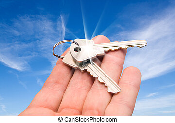 two keys on a palm