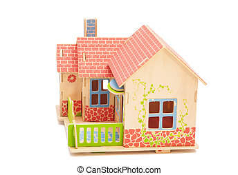 Real Estate Concept. Wooden house on white background
