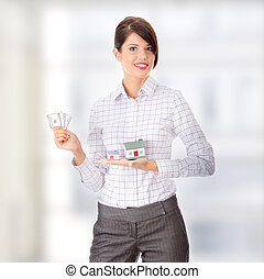 Real estate concept - Young beautiful business woman with...