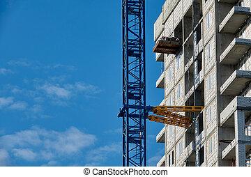 real, estate., construção, repouso novo, construindo uma casa